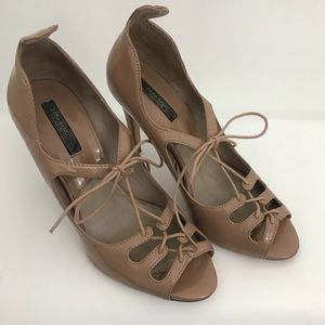 ZARA Lace up patent leather sandals nude Sz 7.5USA